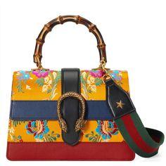 Gucci Dionysus Floral Jacquard Top Handle Bag ($2,615) ❤ liked on Polyvore featuring bags, handbags, totes, women, yellow, floral handbags, top handle bags, man bag, handbag purse and yellow handbags