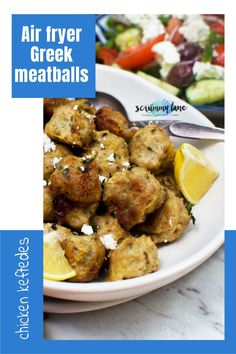 Think homemade meatballs are too much work? These Greek air fryer meatballs keep things super easy. Using dried herbs and spices means they're ready in just 20 minutes. Perfect with a Greek salad and tzatziki. Stove Top Recipes, Easy Meat Recipes, Slow Cooker Recipes, Easy Meals For Two, Quick Easy Meals, Potted Meat Recipe, Crispy Chicken Burgers, Turkey Mince, Greek Meatballs
