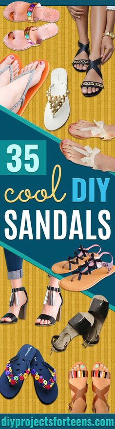 DIY Sandals and Flip Flops - Simple Yet Chic DIY Shoes - Creative, Cool and Easy Ways to Make or Update Your Shoes - Decorate Flip Flops with Cheap Dollar Store Crafts and Ideas - Beaded, Leather, Strappy and Painted Sandal Projects - Fun DIY Projects and Crafts for Teens and Teenagers http://diyprojectsforteens.com/diy-sandals
