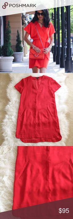 Banana Republic Deep V Neck Dress Beautiful rust/orangey red deep v neck dress in perfect condition! No trades. Bundle & save 5%! 14dckjsf Banana Republic Dresses