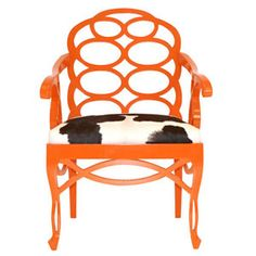 tangerine tango accent chair with cow hide