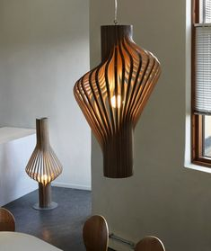 Sculptural Lamp Collection that Made of Plywood