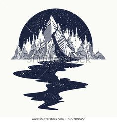 River of stars flows from the mountains, tattoo art. Infinite space, meditation symbols, travel, tourism. Endless universe concept. Mountains tattoo, t-shirt design, surreal graphics