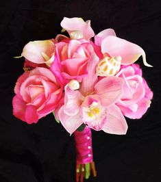 Wedding Fuchsia Pink Natural Touch Roses Orchids and by Wedideas, $87.00