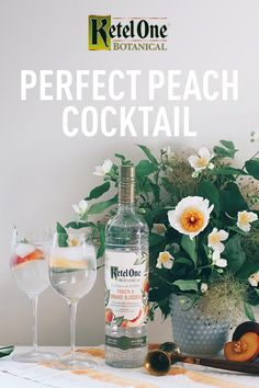 It's officially peach season! Mix up a summery cocktail with Ketel One Botanical Peach & Orange Blossom. It's distilled with fresh, real botanicals and is only 73 calories. Mix oz Ketel One…More Cocktail Drinks, Cocktail Recipes, Craft Cocktails, Holiday Cocktails, Peach Vodka, Perfect Peach, Vodka Recipes, Fru Fru, Peach Orange