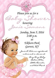 Vintage baby shower invitation for girl baby bath pink diy vintage baby ballerina with pearls baby shower invitation in 4x6 contact me via email at aswiney01 filmwisefo
