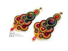 Soutache Statement earrings Colorful Earrings Dangle by YGSoutache