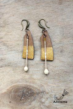 Boucles d'oreille Ethniques pendante cuir doré cuivre et