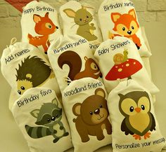 Muslin Bags Forest Woodland Animals Favor Baby by CharleysCache. Personalized with kids names! Perfect for a birthday party! Love these!