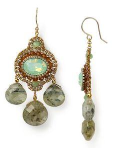 Miguel Ases Green Quartz Chandelier Drop Earrings