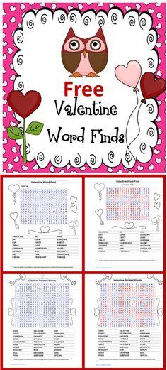 free-valentine-word-finds, PDF
