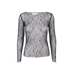 Desirella lace top black (1 015 SEK) ❤ liked on Polyvore featuring tops, embroidered lace top, embroidered top, long sleeve lace top, lace top and long sleeve tops
