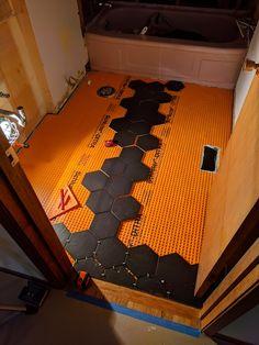 How to lay big hexagon tile!: Week 3 of the One Room Challenge / Create / Enjoy Large Hexagon Floor Tile, Hexagon Tile Bathroom, Hexagon Tiles, Bathroom Layout, Bathroom Interior Design, Hall Bathroom, Hexagon Quilt, Basement Bathroom, Small Bathroom Redo