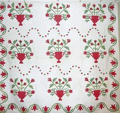 Antique Applique Quilt ~Flower Vases, dots and   l i v e l y ! beautiful  stitch-person-ship! Cowhollow Antique Quilts and Collectibles, Ruby Lane