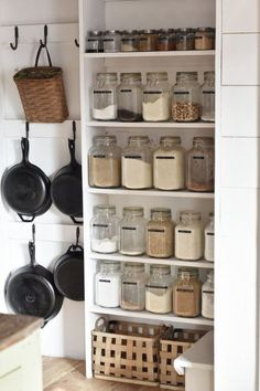 Hanging pans in the pantry. Hanging pans in the pantry. Hanging pans in the pantry. Hanging pans in Farm Kitchen Ideas, Farmhouse Kitchen Decor, Decorating Kitchen, Home Decor Kitchen, Kitchen Stuff, Farmhouse Shelving, Black Kitchen Decor, Farmhouse Chic, Kitchen Items