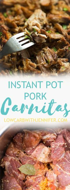 Instant Pot Carnitas is amazingly juicy braised pork that has been shredded with delicious spices. Serve as filing for tacos, burritos, or as a taco salad!