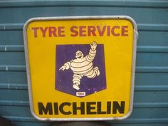 Old Sign Vintage Michelin Pneus Tyres Tires Advert Garage car Bicycle Motor 1966