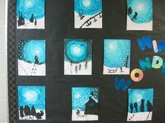 S teaching treasures: winter wonderland art winter art projects, Winter Art Projects, School Art Projects, Winter Fun, Winter Theme, Ecole Art, Art Lessons Elementary, Art Lesson Plans, Art Classroom, Winter Scenes