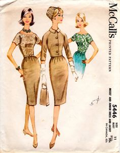 1960s Belted Sheath Dress with Jacket - Vintage Pattern McCall's 5446 by ErikawithaK on Etsy