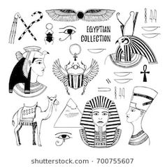 Gods of Ancient Egypt Pharaoh scarab beetle camel symbols. Perfect for invitation web postcard poster textile print etc. Egyptian Symbols, Egyptian Art, Cartoon Girl Drawing, Cartoon Drawings, Ancient Egypt Pharaohs, Egypt Tattoo, Free Vector Art, Textile Prints, How To Draw Hands