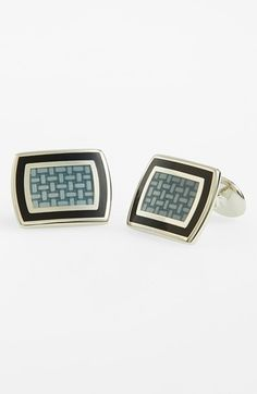 Men's David Donahue Sterling Silver Cuff Links - Sterling Silver/ Black/ Grey