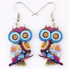 Drop Owl Earrings with Long Dangle in Acrylic Cute Pattern Fashion Jewelry For Women - free shipping worldwide