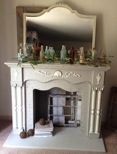 Custom Made Vintage Solid Wood Mantle And Ornate Mirror