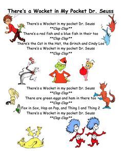 "Seuss Song for Kids! ""There's a Wocket in My Pocket, Dr. Seuss"" G… Simple Dr. Seuss Song for Kids! ""There's a Wocket in My Pocket, Dr. Seuss"" Great for Dr. Dr. Seuss, Dr Seuss Week, Preschool Music, Preschool Themes, Preschool Lessons, Preschool Projects, Teaching Music, Preschool Learning, Kid Crafts"