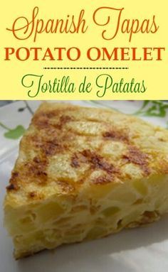 The Spanish Potato Omelet is a delicious dish commonly known in Spain as Tortilla Espala or Tortilla de Patatas. It is a favorite tapa dish in Span. Spanish Potato Omelet, Spanish Potatoes, Potato Frittata, Quiche, Omelette Recipe, Frittata Recipes, Omelette Ideas, Easy Omelet, Gastronomia
