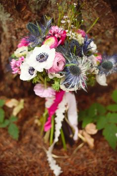 Best of 2011 bridal bouquets for Lollie Fleur. Photo by Dana Pleasant Photography. Bouquet with rannuculus, thistle, waxflower, anemone and garden roses.