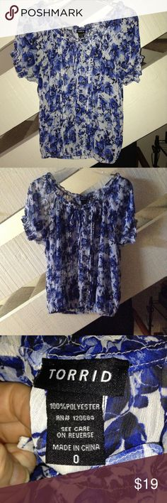 plus size TORRID BLOUSE This blouse is sheer has little ties at collar elastic hem and ruffled details torrid Tops Blouses