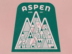 Aspen designed by MUTI. Connect with them on Dribbble; the global community for designers and creative professionals. Vintage Typography, Graphic Design Typography, Graphic Design Illustration, Vintage Graphic Design, Shirt Logo Design, Badge Design, Logo Sticker, Sticker Design, Map Design