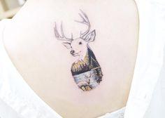 Landscape stag tattoo by Tattooist Banul