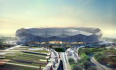 Image 9 of 11 from gallery of Qatar Unveils Designs for Fourth World Cup Stadium. Courtesy of SC Futuristic Architecture, Sustainable Architecture, Amazing Architecture, Architecture Design, Soccer Stadium, Football Stadiums, Qatar World Cup Stadiums, Cgi, Modern Architecture