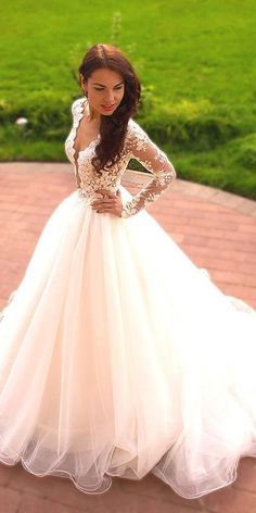 Appliques White Ball Gown Wedding Dress, Long Sleeve