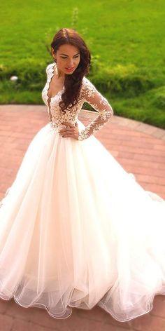 New Arrival Wedding Dress,White lace wedding dress,see through Chic Long Sleeve Wedding Dresses