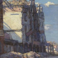 'Houses In The Place Hotel De Ville, Arras by Gyrth Russell' by classicartcache Ww1 Art, Group Of Seven, Canadian Artists, First World, Art Boards, Decorative Throw Pillows, Painting & Drawing, Oil On Canvas, Houses