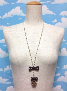Rosary Styled Ribbon Necklace in Brown from Innocent World - Lolita Desu