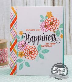 Plaid Happiness Card by Betsy Veldman for Papertrey Ink (May 2015)
