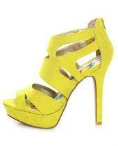 Yellow Suede Strappy Bootie Pumps
