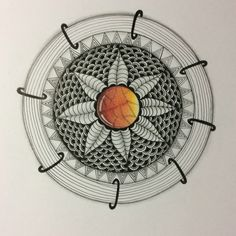 Mandala with gem centre created using Polychromo pencils