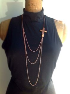"Goth inspired Fall First Asymmetric ""Rose Gold"" Long Cross Necklace   on Etsy, $12.00"