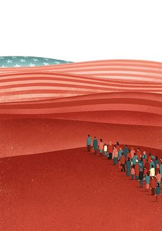 Davide Bonazzi Illustration: Coming to America. Davide Bonazzi's latest illustration for The Boston Globe's letters page is about people immigrating to the United States. American Illustration, Illustration Art, Creative Illustration, Visual Metaphor, Step Parenting, Parenting Memes, Parenting Advice, Communication Art, Political Art