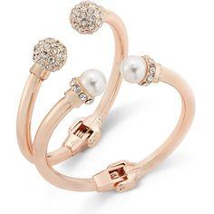 INC Imitation Pearl and Crystal Fireball Hinge Bracelet Set, Created... ($21) ❤ liked on Polyvore featuring jewelry, bracelets, rose gold, crystal bangles, fake pearl jewelry, crystal jewellery, crystal stone jewelry and bangle bracelet