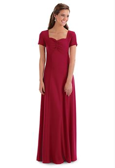 Caprice Dress Price $49.00 Item: D793 The sweetheart neckline and contoured empire waistline are created by the bodice ruching. Wrinkle resistant crepe is an ideal fabric choice for groups that travel. Washable.