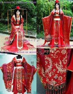 【唐装・漢服ー女】 華服花嫁華麗古装 鳳菊2 もっと見る Oriental Fashion, Ethnic Fashion, Asian Fashion, Traditional Fashion, Traditional Dresses, Chinese Kimono, Chinese Clothing, Japanese Outfits, Character Outfits