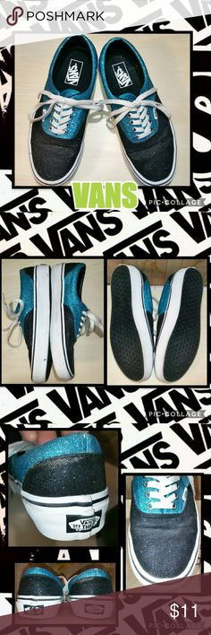 VANS Sneakers (unisex) GUC but they do show some wear~ there are light crease marks on the tops where the foot bends at the base of the toe~ there is a few areas around the top of the back heel where the blue sparkles have slightly begun to rub off~ they could use a wipe down but barely dirty~ and for some reason one of the VANS logo emblems on the back heel has a minor defect as shown in photo~ Vans Shoes Sneakers