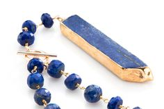 Lapis Long lariat Necklace with gold filled chain by joydravecky