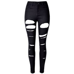 Black High Waist Ripped Skinny Jeans (€36) ❤ liked on Polyvore featuring jeans, pants, bottoms, calças, high rise skinny jeans, high waisted ripped jeans, stretch jeans, stretch skinny jeans and distressed jeans
