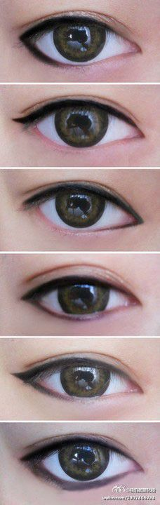 by simply applying eyeliner the eye changes shape! Interesting!